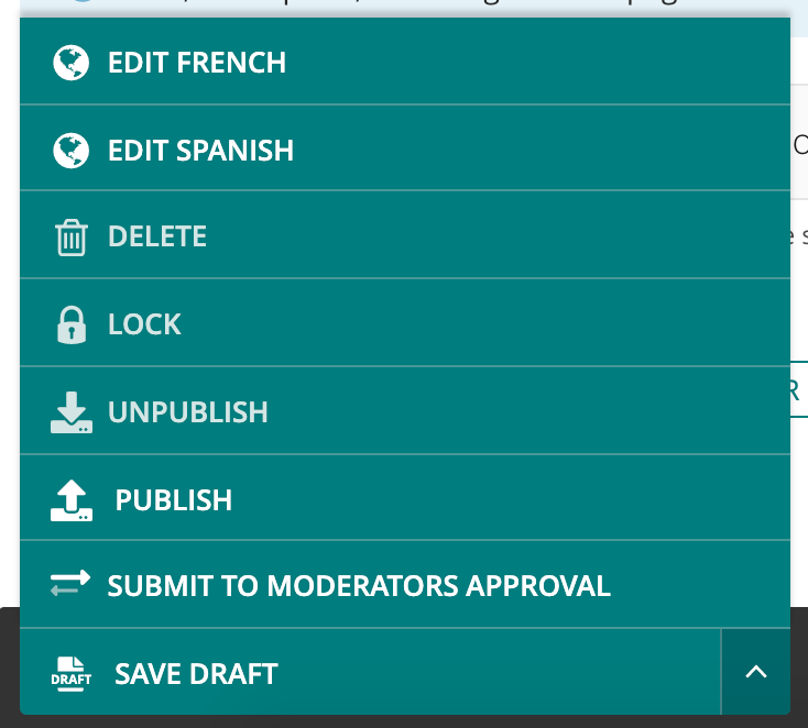 Modified page editor action button menu, with additional sibling page edit buttons